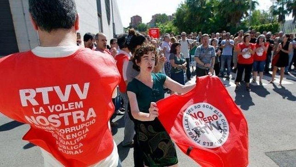 Manifestación contra el ERE en Canal 9