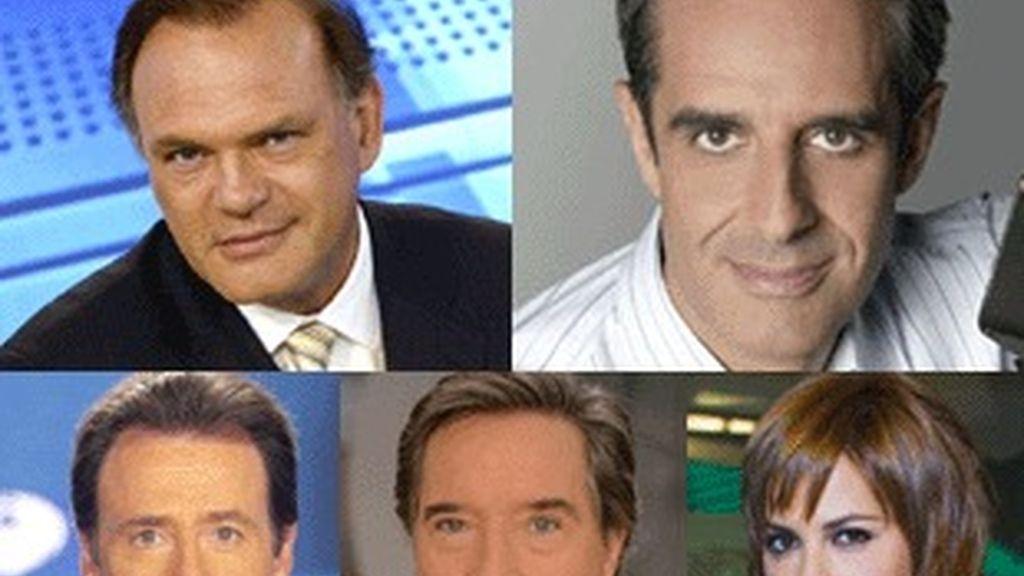 Pedro Piqueras (Telecinco), Juan Pedro Valentín (TVE), Matías Prats (Antena 3), Iñaki Gabilondo (Cuatro) y Mamen Mendizabal (La Sexta).
