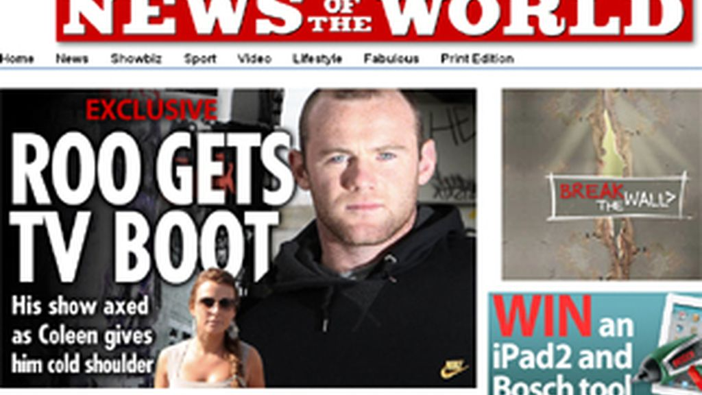 El futbolista Wayne Rooney en la edición web de 'News of the World'.