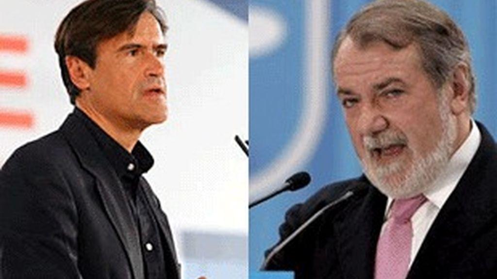 Juan Fernando López Aguilar (izquierda), candidato socialista y Jaime Mayor Oreja, candidato del PP.