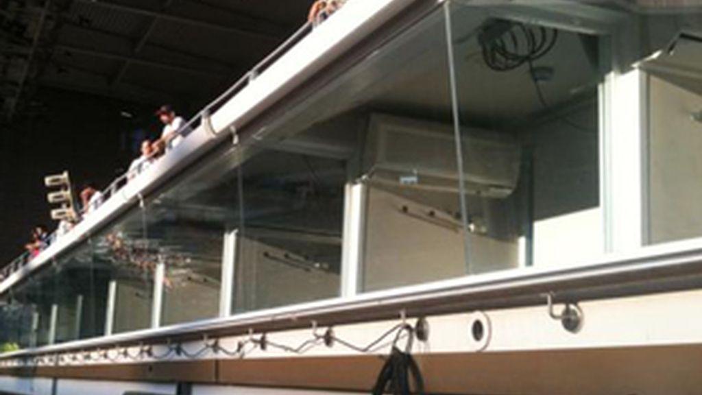 Cabinas de radio en el Santiago Bernabéu.