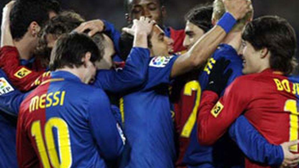 El Barça festeja el pase a la final de la Copa del Rey.