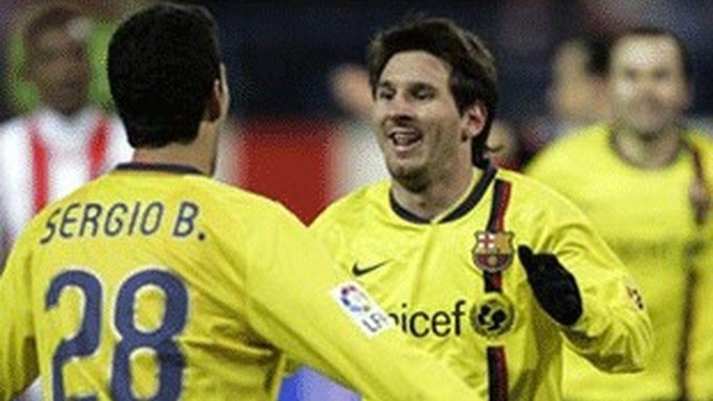 Lionel Messi celebra uno de los goles del partido de ida.