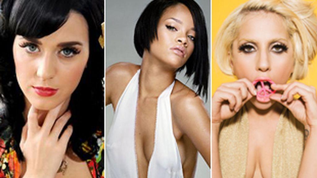 Katy Perry, Rihanna y Lady Gaga.