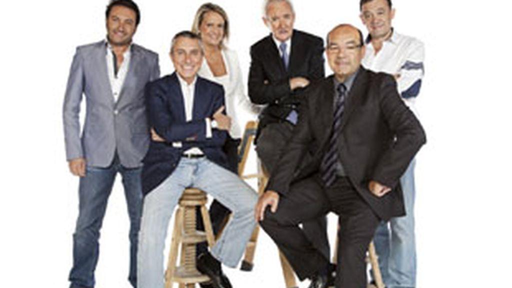 De izquieda a derecha, Albert Castillón, Melchor Miralles, Isabel San Sebastián, Luis del Olmo, Ángel Expósito y José Antonio Abellán.