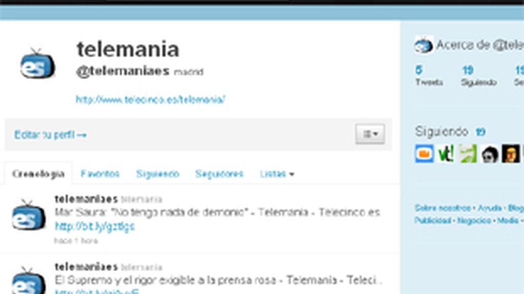 Imagen del perfil de telemania.es en Twitter.