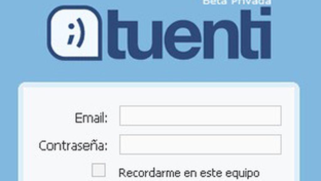 Apariencia de la entrada a la red social Tuenti.