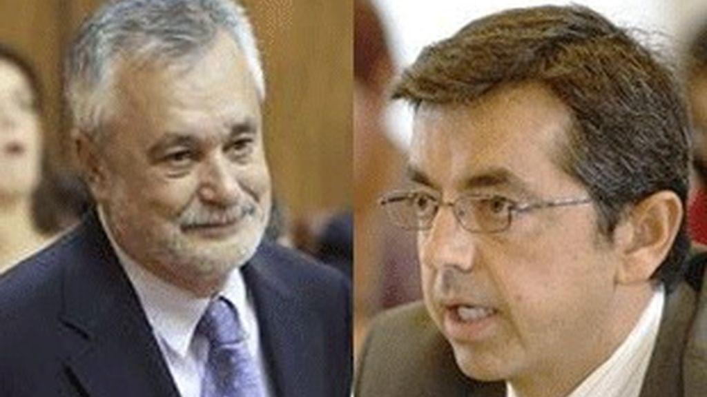 A la izquierda, el presidente de la Junta de Andalucía José Antonio Griñan, a la derecha, el presidente de RTVA Pablo Carrasco.