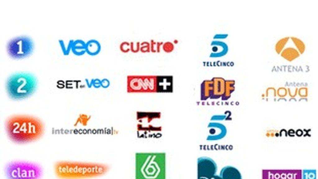 Logotipos de las cadenas de la TDT.