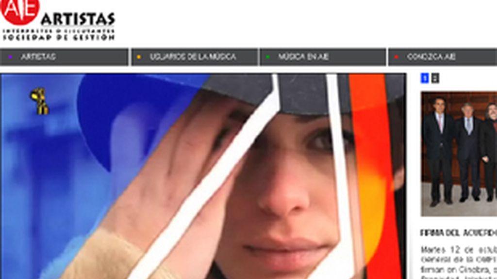 Imagen de la web de Artistas Intérpretes o Ejecutantes (AIE).