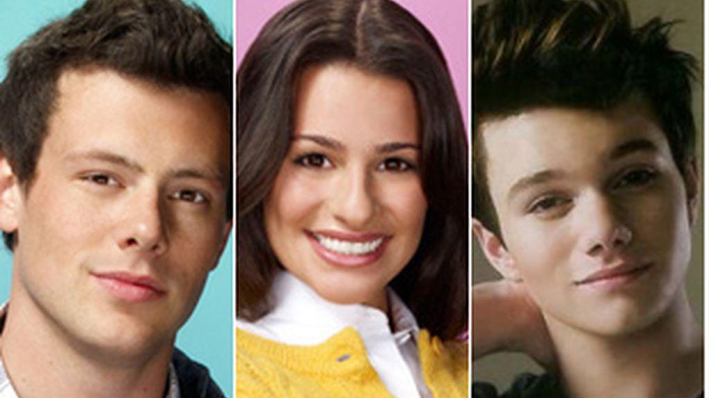 De izquierda a derecha, Cory Monteith (Finn), Lea Michele (Rachel) y Chris Colfer (Kurt).