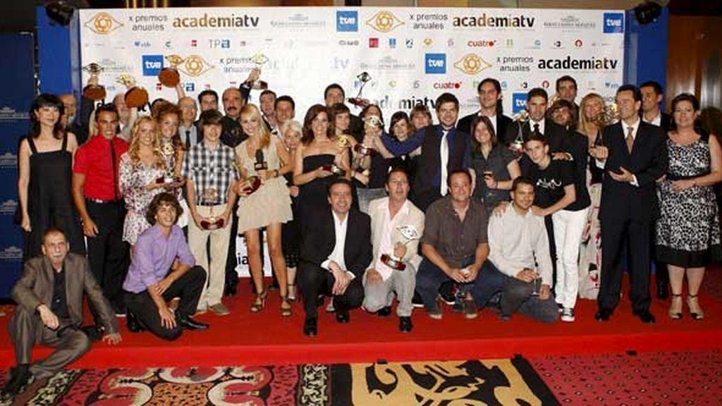 Foto de familia de los premios de la Academia de la Televisión