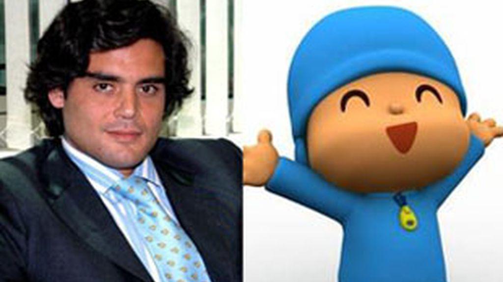 Juan José Güemes y el personaje animado Pocoyó.