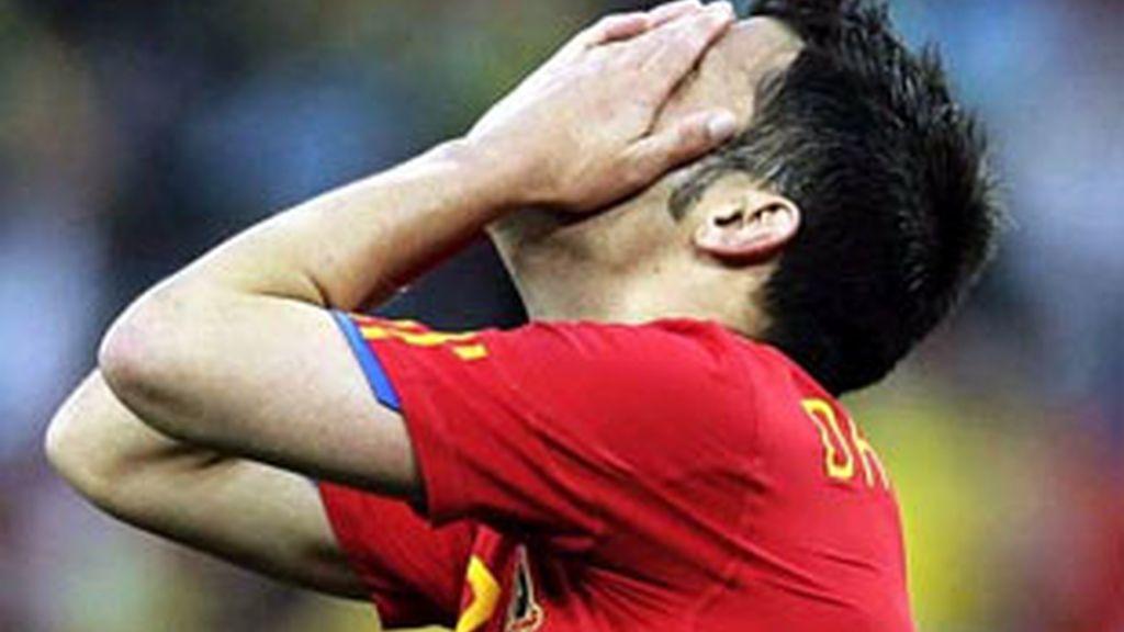 David Villa se lamenta en el España-Suiza de Sudáfrica 2010.