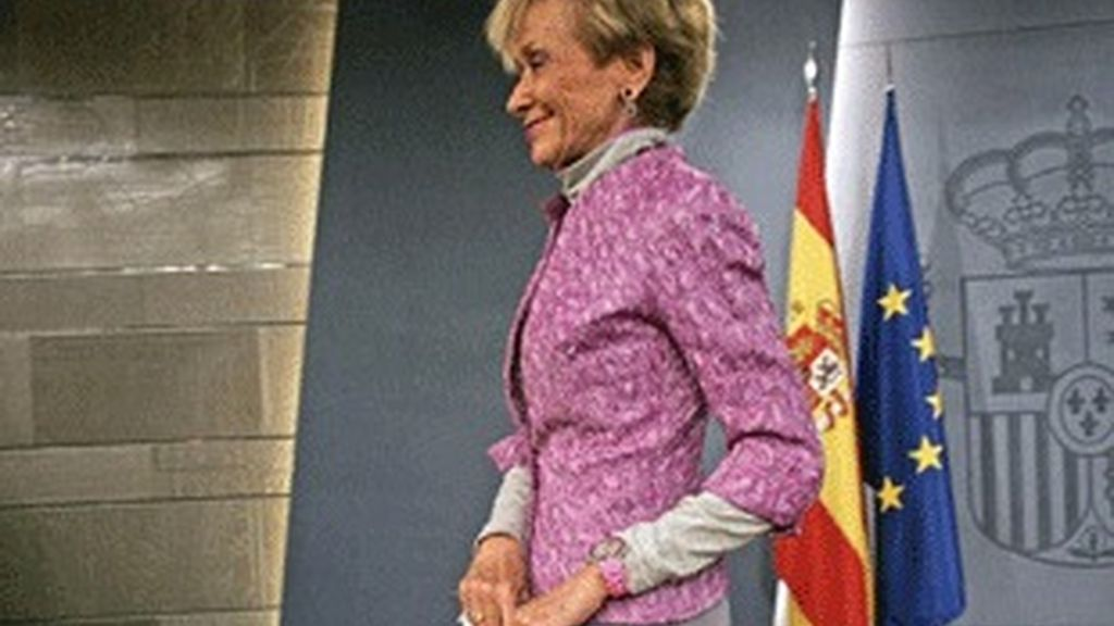 María Teresa Fernández de la Vega, tras un Consejo de Ministros.