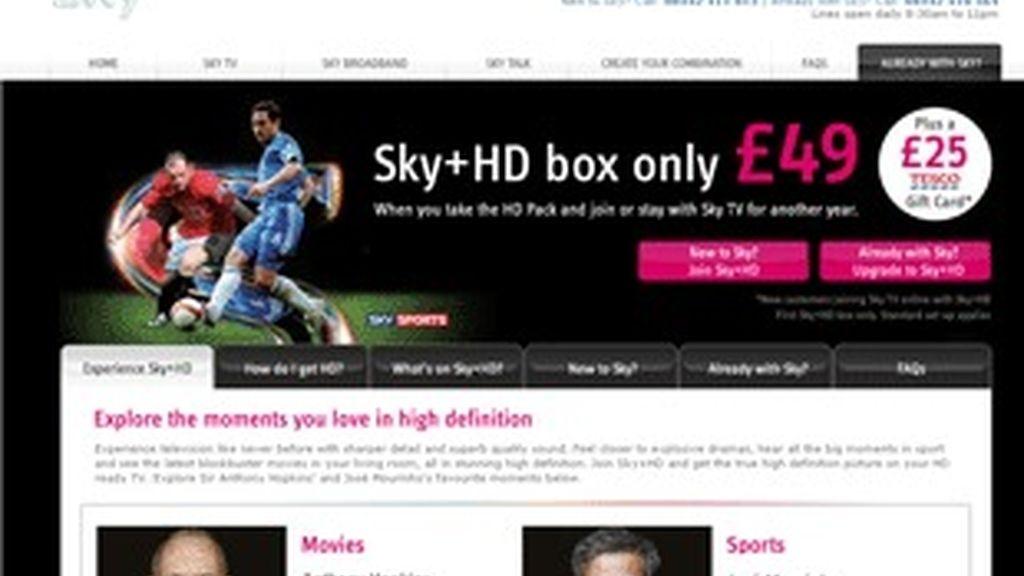 Página web del canal Sky+HD.