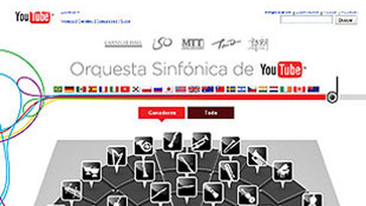 Logotipo de la orquesta sinfónica de YouTube.