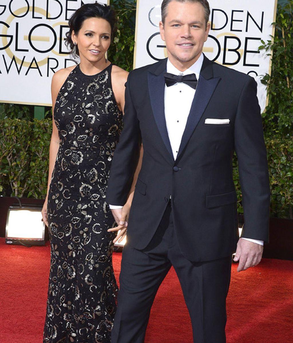 Matt Damon, nominado a mejor actor de miniserie o 'telefilme' por 'Behind the candelabra', y su esposa, Luciana Bozan Barroso