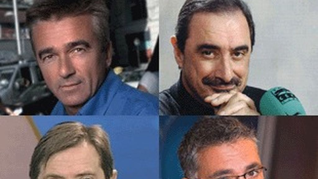 De arriba a abajo y de izquierda a derecha, Carles Francino, Carlos Herrera, Federico Jiménez Losantos y Juan Ramón Lucas.