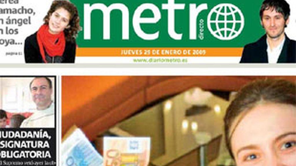 Portada del diario gratuito 'Metro'