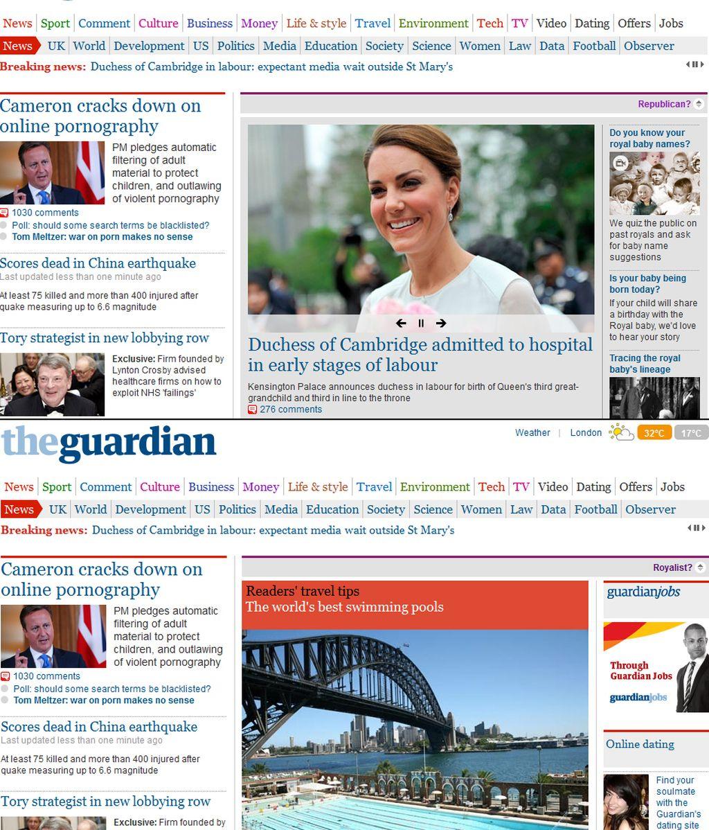Montaje The Guardian, republica, monarquía