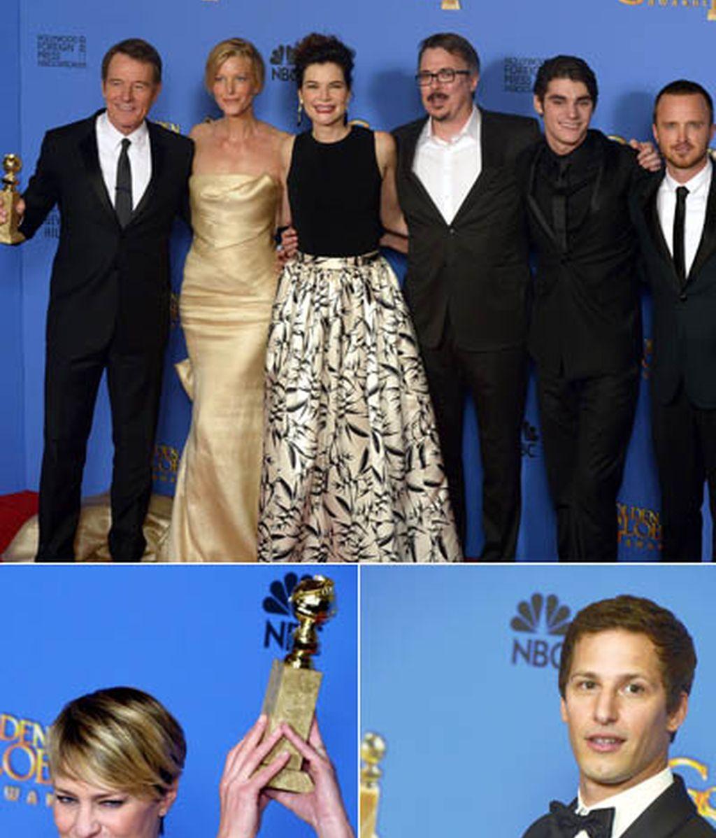 La presentadora de la gala Amy Poehler ( 'Parks and Recreation') se va cargada