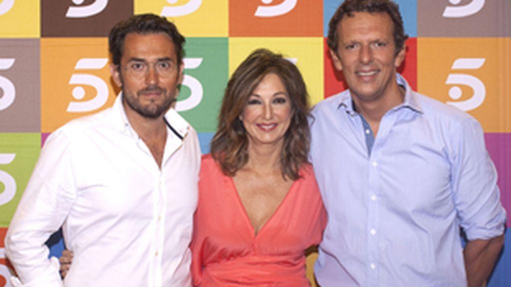 Maxim Huerta, Ana Rosa Quintana y Joaquín Prat.