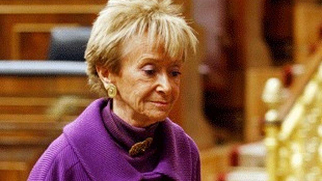 María Teresa Fernández de la Vega, hoy en el Congreso.