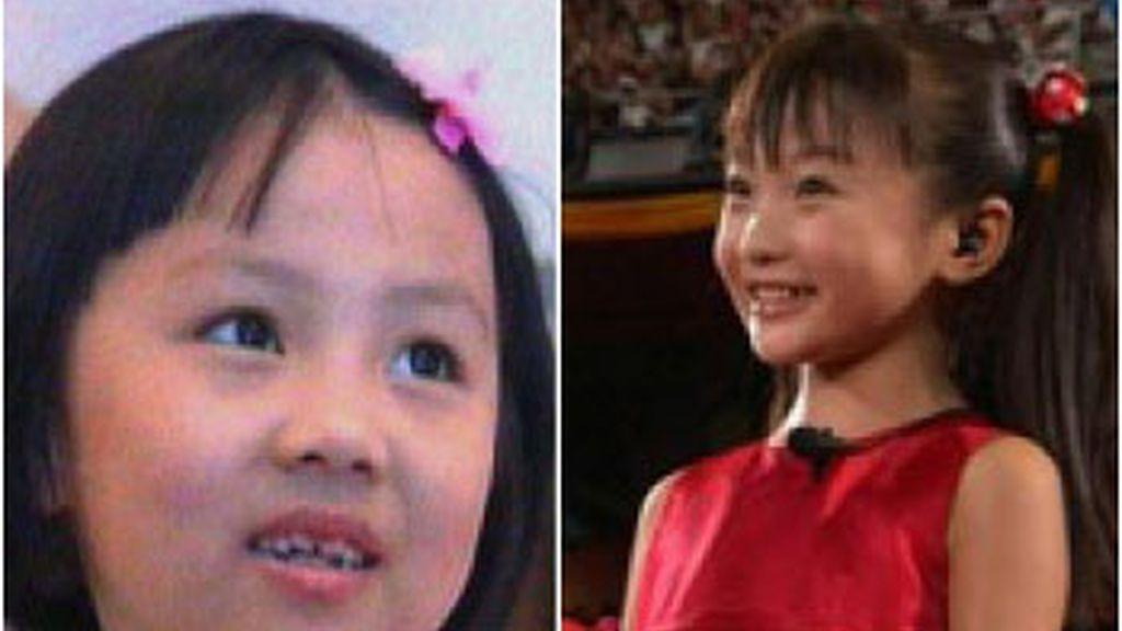 Yang Peiyi y Lin Miaoke, voz e imagen respectivamente de la 'Oda a la madre patria'.