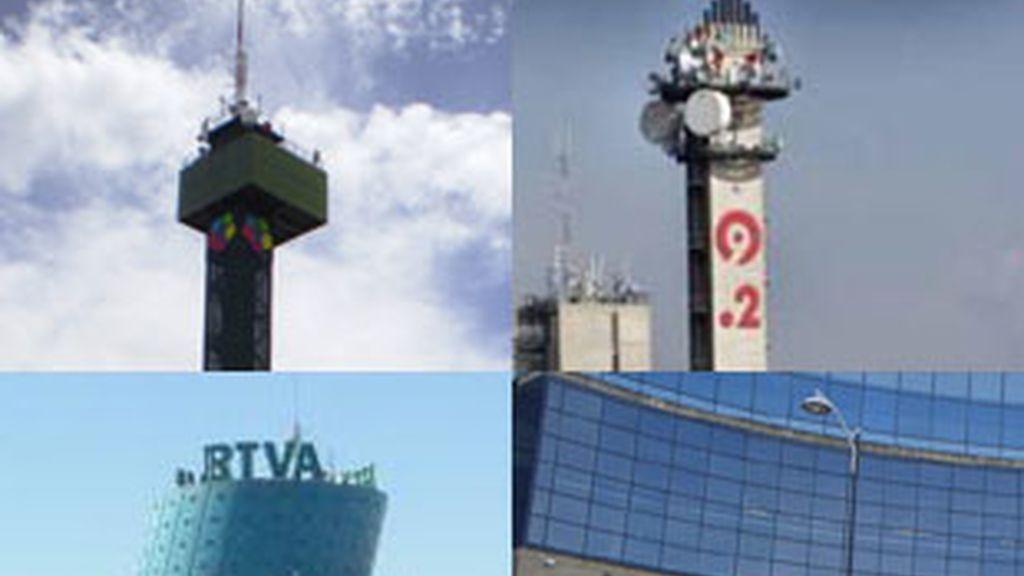 De izquierda a derecha, y de arriba a abajo, las sedes de Telemadrid, Canal 9, Canal Sur y Eitb.