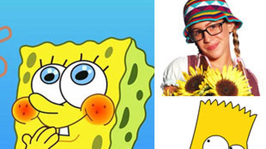 De izquierda a derecha, y de arriba a abajo, 'Bob esponja', 'Patito feo' y 'Los Simpson'.