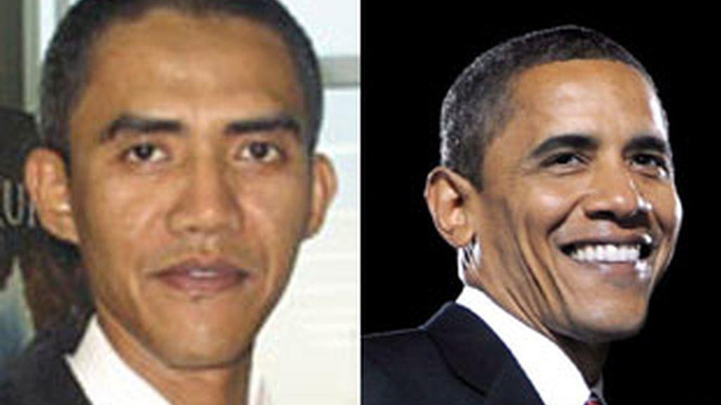 Ilham Anas, el doble indonesio de Barack Obama (a la derecha).