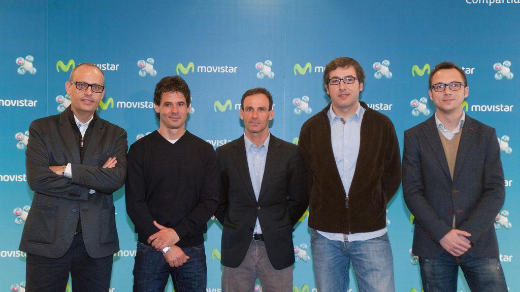 Ernest Riveras, Alex Crivillé, Alberto Puig, Juan Martínez y Carles Pérez