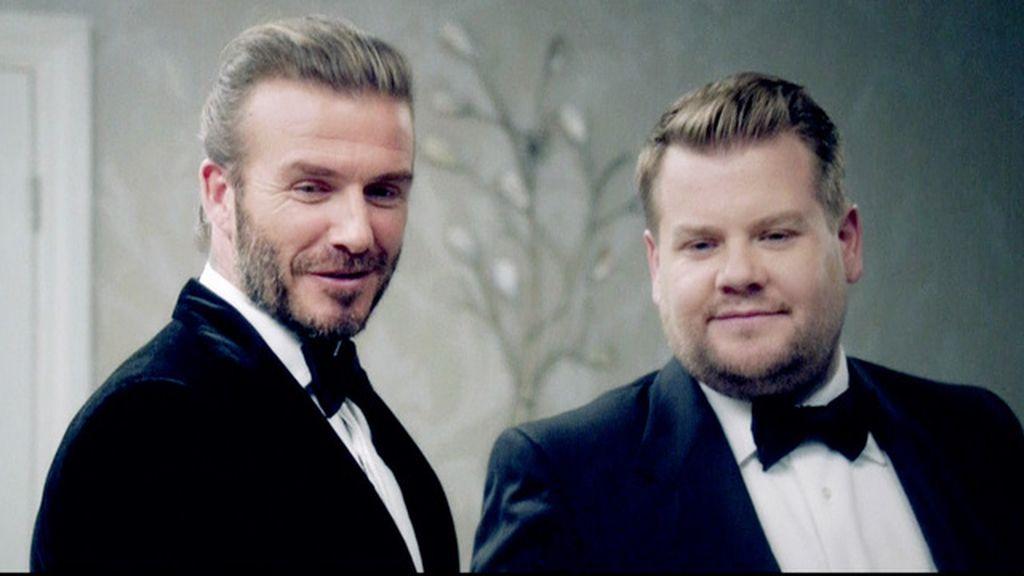 David Beckham y James Corden en el 'sketch' para el papel de James Bond