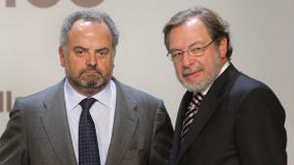 El presidente de Prisa, Ignacio de Polanco (izquierda) y el consejero delegado, Juan Luis Cebrián.