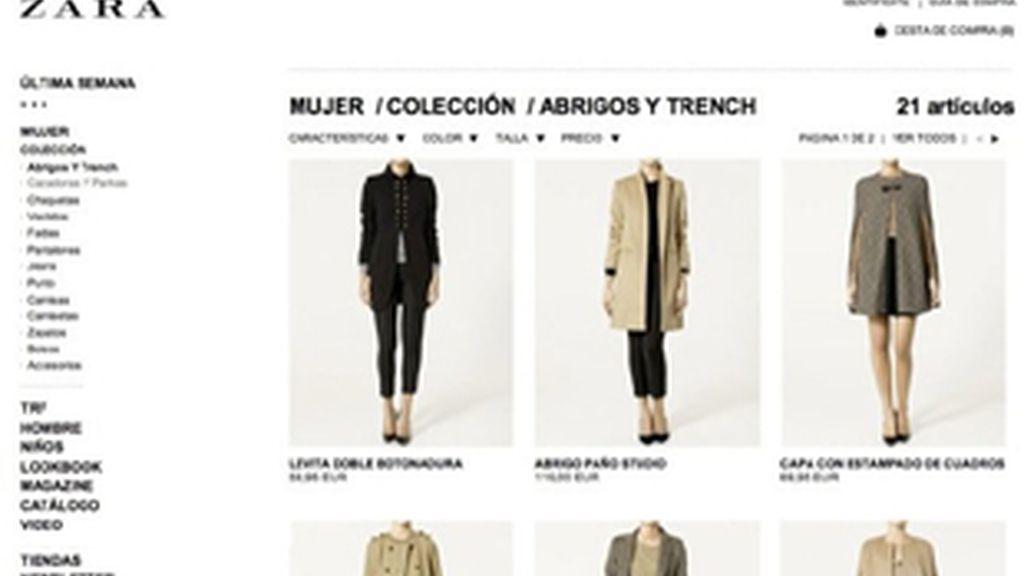 Tienda virtual de Zara.