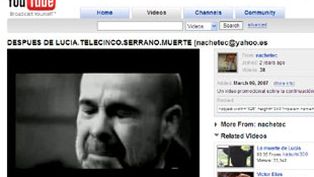 Captura de un vídeo de 'Los Serrano' (Telecinco) colgado en YouTube.