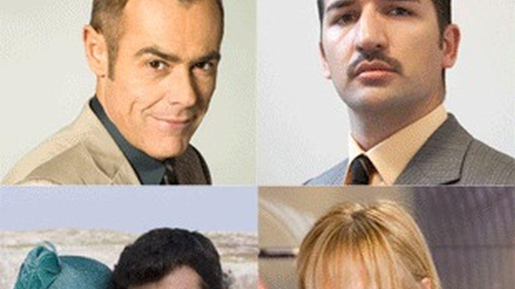 De izquierda a derecha, y de arriba a abajo, Jordi González ('La Noria'), uno de los profesores de 'Curso del 63', los protagonistas de 'La Señora', y Mercedes Milá ('Gran hermano').