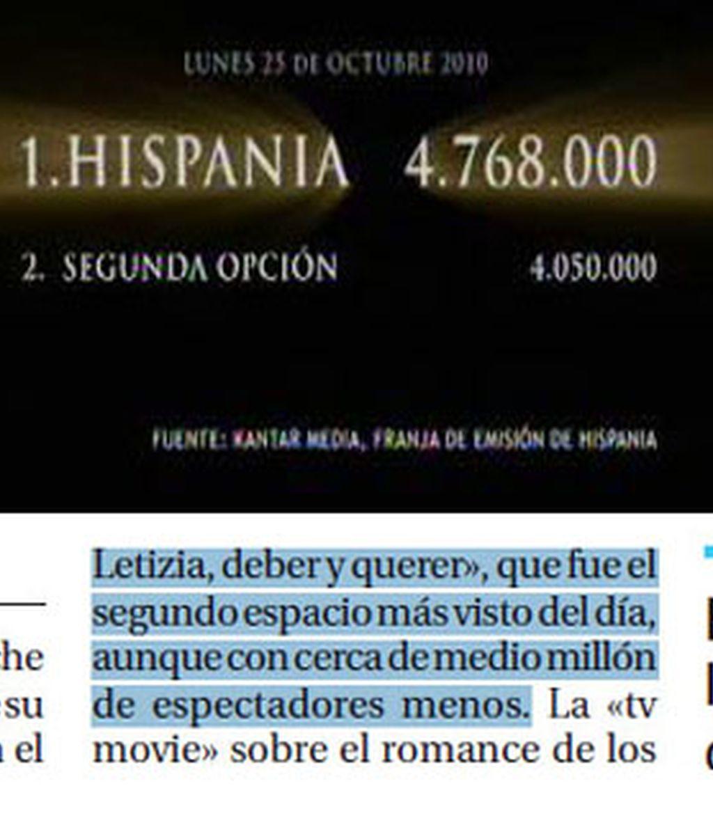 Imagen de la promoción de 'Hispania', y, debajo, su corrección en 'La Razón'.