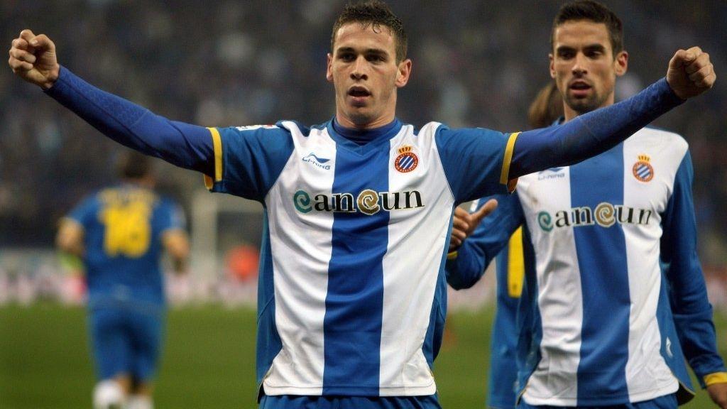 Álvaro Vázquez (Espanyol) celebra gol