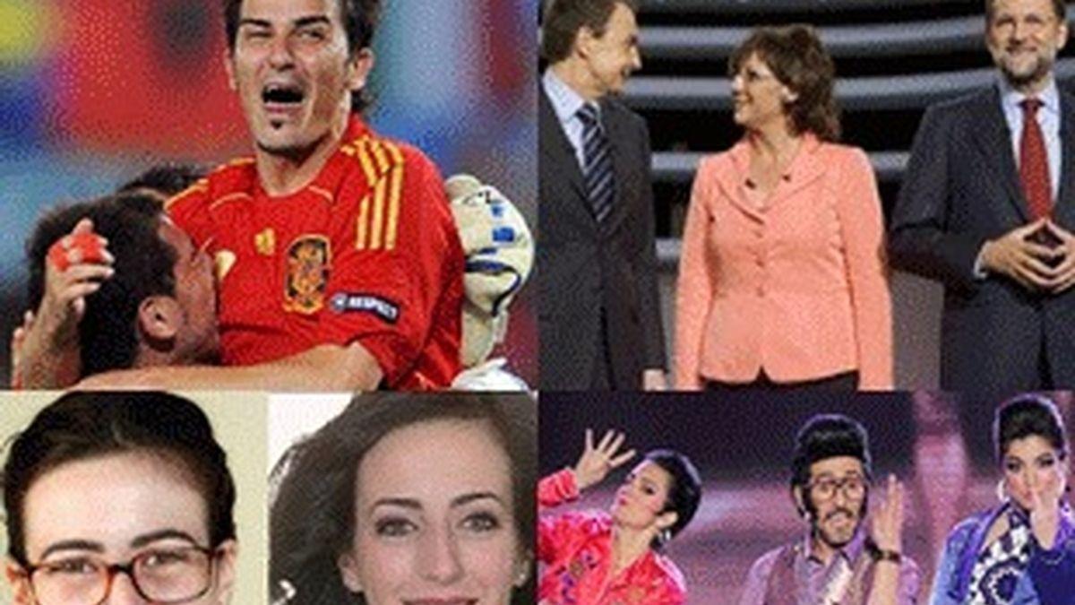 Villa celebra un penalti en el España-Italia de la Eurocopa (Cuatro). Zapatero y Rajoy, con Olga Viza en el debate electoral. Bea, antes y después del cambio (Telecinco). Chikilicuatre, en su actuación en el Festival de Eurovisión (La 1).