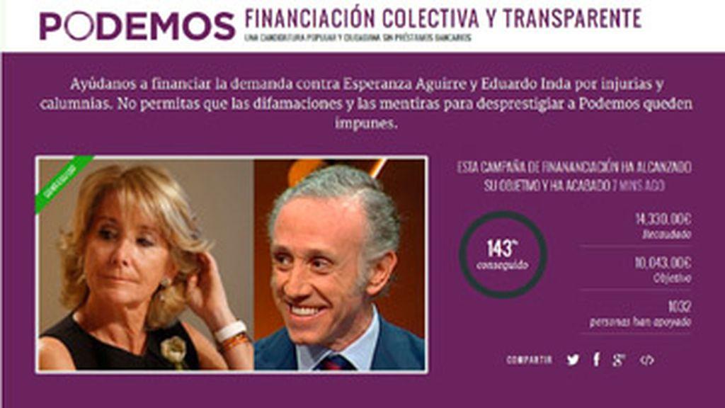 Campaña crowdfunding de Podemos