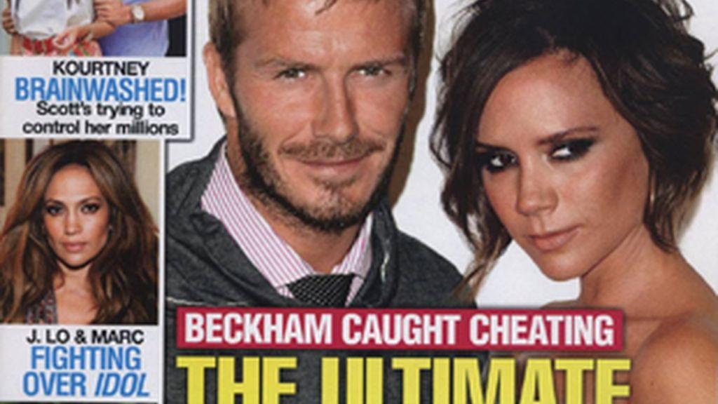 La supuesta infidelidad de David Beckham en la portada de la revista 'In Touch Weekly'.