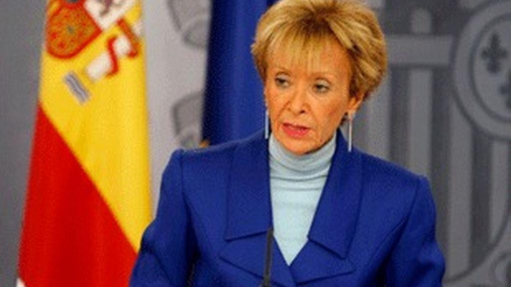 María Teresa Fernández de la Vega, en la rueda de prensa posterior al Consejo de Ministros.