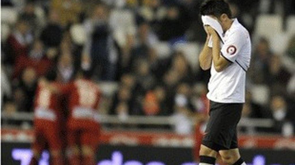 Villa, en el partido de ida entre el Valencia y el Sporting.