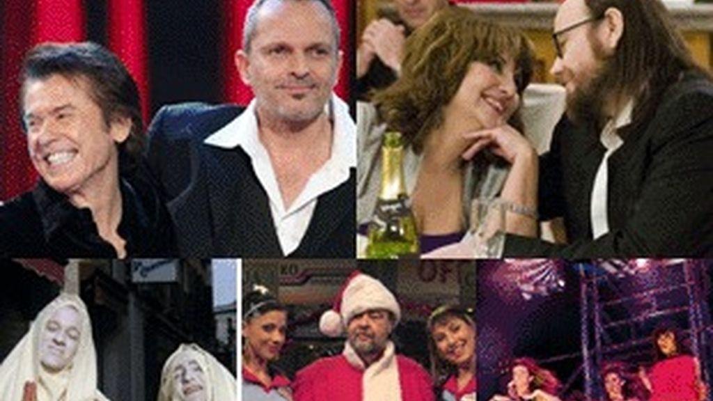De izquierda a derecha y de arriba a abajo, Raphael con Miguel Bosé (TVE-1); Soledad Mallol y Santiago Segura en 'Escenas de matrimonio' (Telecinco); Edu Soto y David Fernández (Antena 3); los protagonistas de 'La tira' (La Sexta), y gala de 'Fama' (Cuatro).