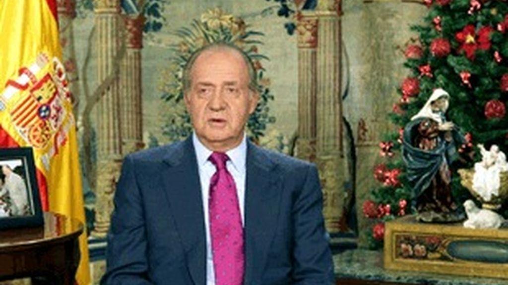 El Rey Juan Carlos durante el mensaje de Navidad.