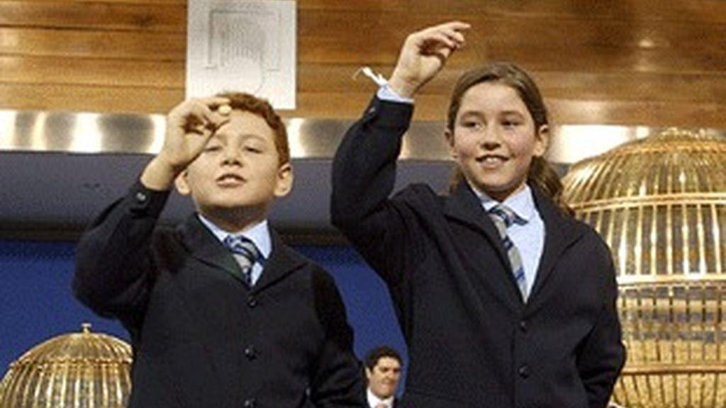 Niños de San Ildefonso, en el sorteo.