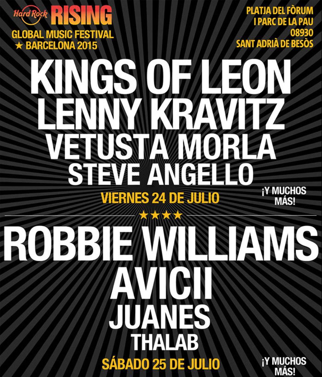 Llega a España el Hard Rock Rising Festival con un cartel que incluye entre otros a Robbie Williams, Lenny Kravitz, Kings of Leon y Avicii