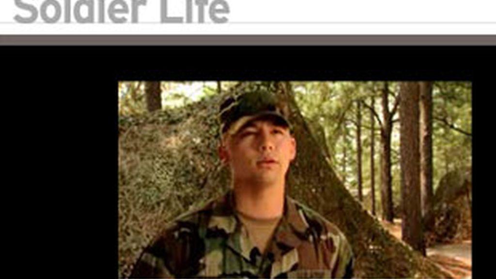 Uno de los reclutas de la guerra de Irak en un video de la página.